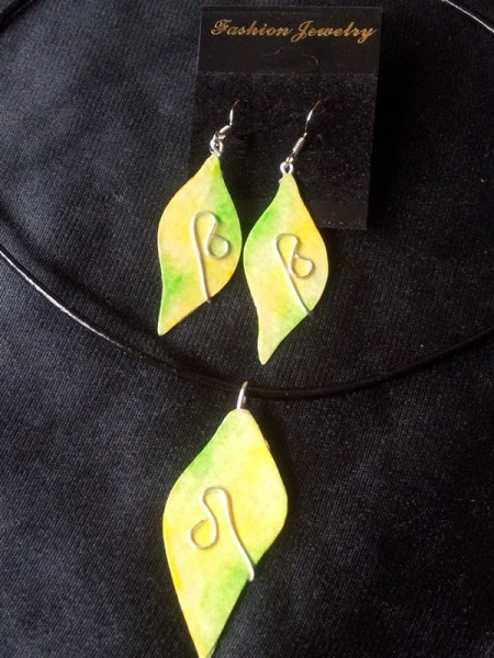 Watercolour Jewellery Set-Leaf Design