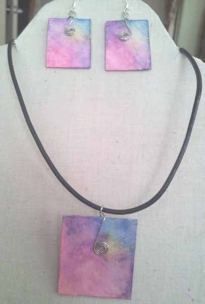 Square Watercolour Jewellery Set