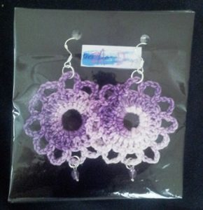 crochet earrings packaged